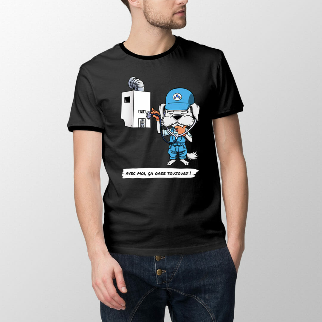 T-shirt Chauffichon Le Chauffagiste – «Avec Moi, ça Gaze Toujours»