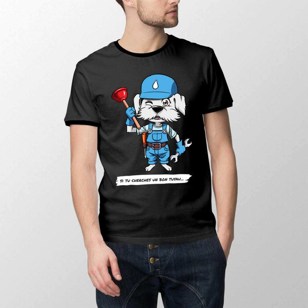 T-shirt Plombichon – «Si Tu Cherches Un Bon Tuyau…»