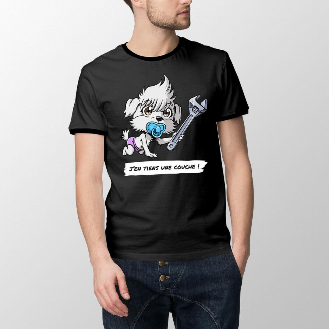 T-Shirt Bébichon L'Apprenti – «J'en Tiens Une Couche !»